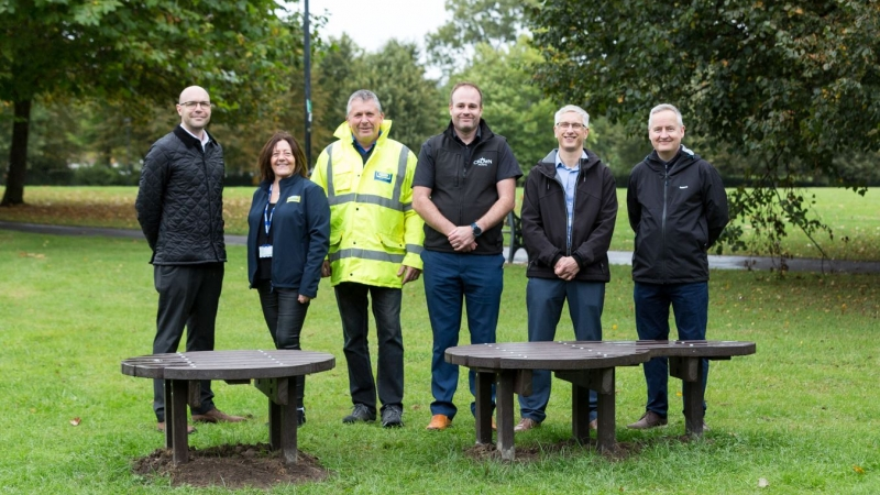 Jones Building Group collaborate on 'Talking Point Bench' for Mental Health Awareness