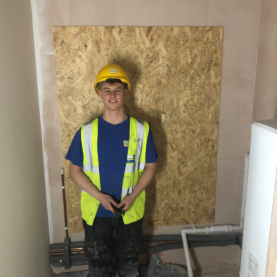 Jones Building Group Apprentice Sam Watkins is currently carrying out refurbishment work at Blake Envelopes.