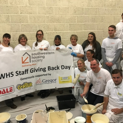 Jones Building Group and South Western Housing Society redecorate a local Night Assessment Centre in Weston-Super-Mare as part of 'Giving Back Day' project.