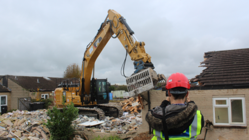 Demolition of  the existing buildings at Isaacs Close, Street have now begun