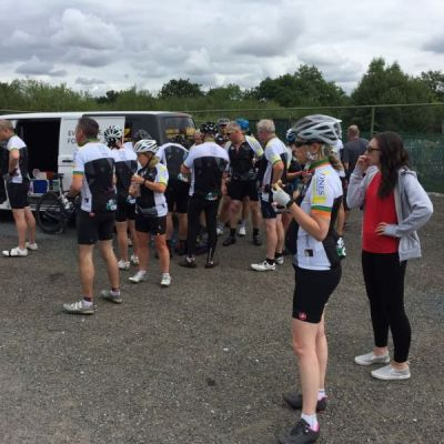 After a 26 mile ride the group enjoy their first food stop