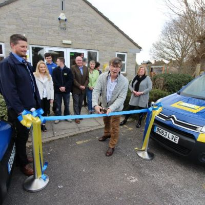 Opening the kitchen donated to Marston Magna Village Hall by Jones Building Group Apprentices
