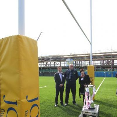 The project team with the 6 Nations trophy at the Lockleaze pitch opening