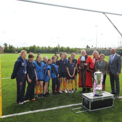 Senior Bristol Dignitaries with the 6 Nations Trophy at Lockleaze pitch opening